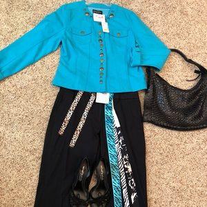 cropped pants and teal denim Jacket sz 10